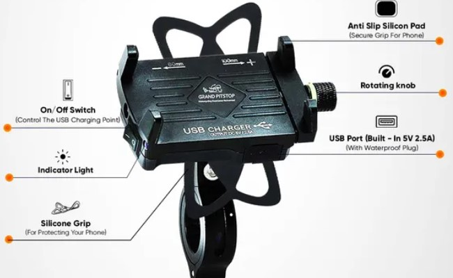 Grand Pitstop Claw-grip phone mount with charger