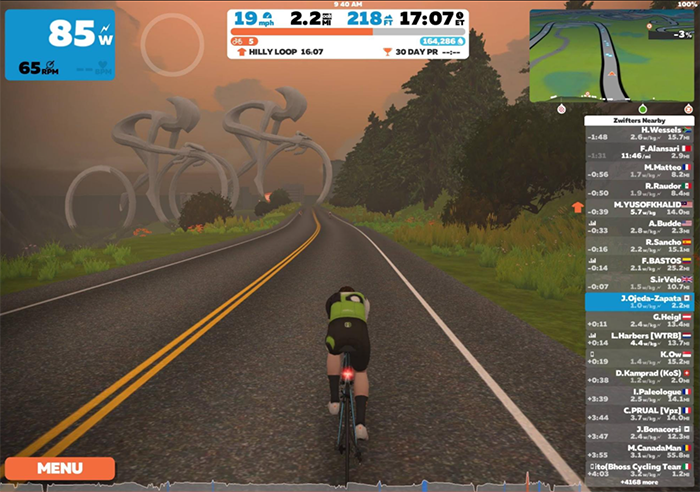 zwift app for indoor bicycling